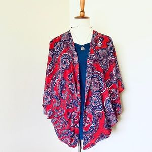 Maurice's Red White & Blue Paisley Kimono L/XL